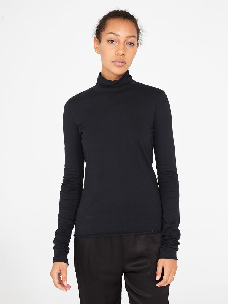 Black Jersey Long Sleeve Turtleneck