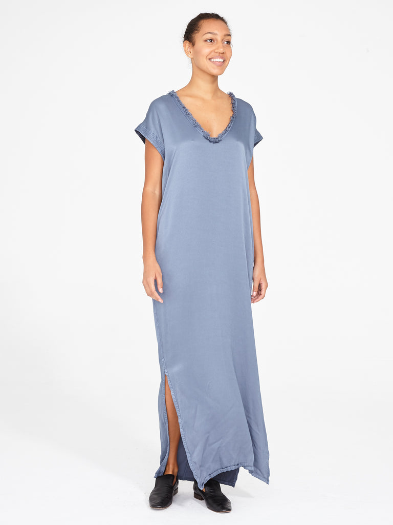 Fog Blue Pebble Satin Trapunto Caftan Dress