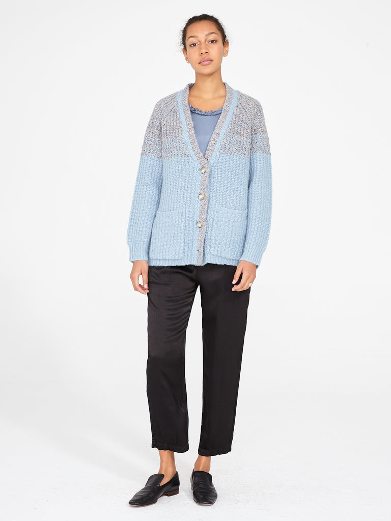Cloud Blue Two Tone Boxy Cardigan