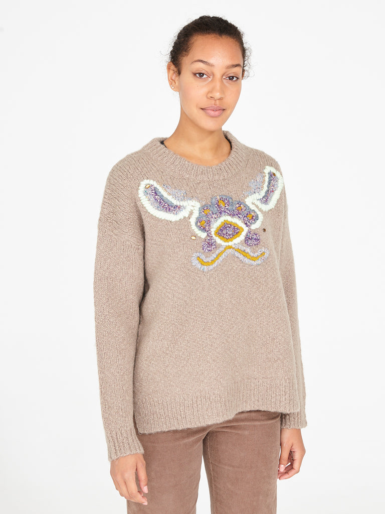 Putty Tapestry Intarsia Oversize Crew