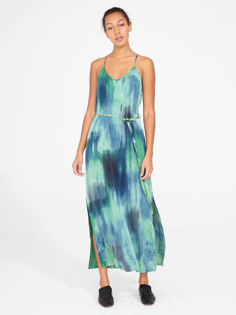 Jade Silk Cotton Sateen Pintuck Slip Dress