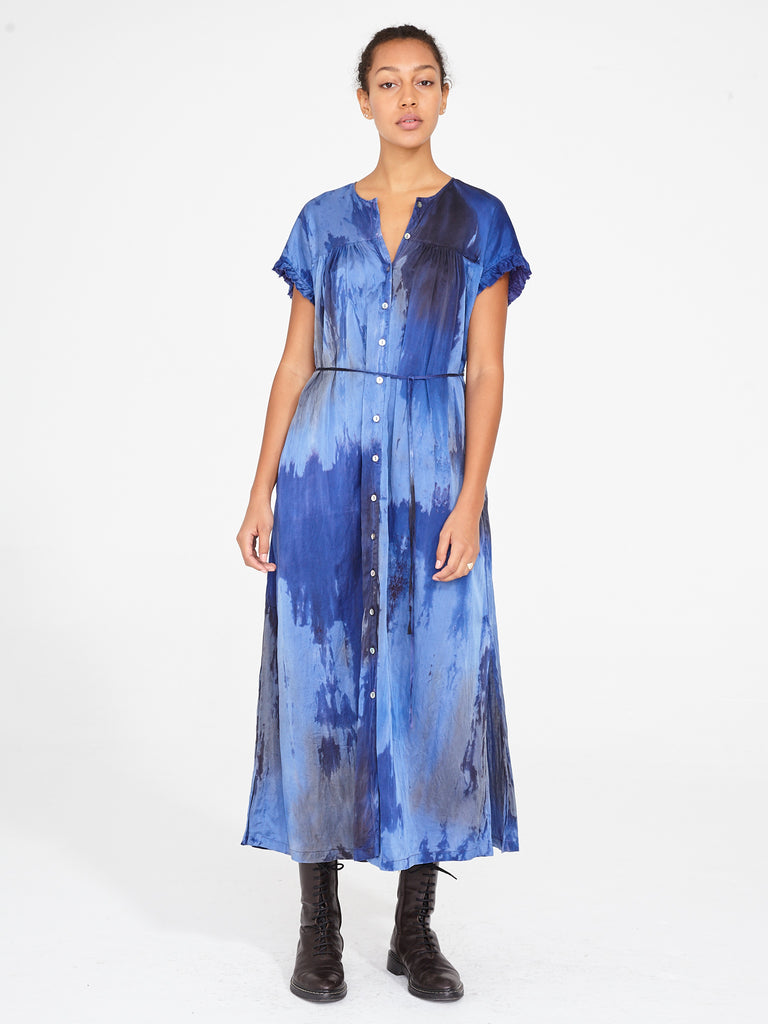 Sapphire Silk Cotton Sateen Poet Dress