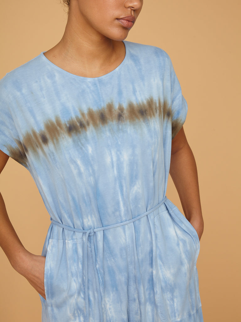 Blue Stripe Jersey Jumpsuit