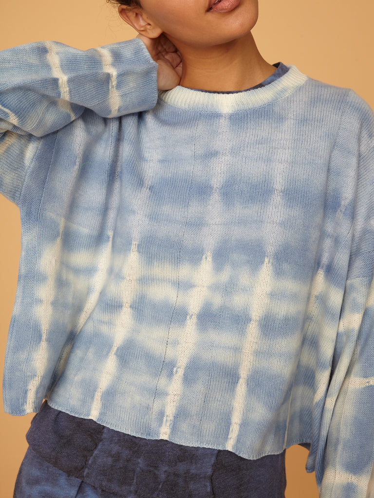 Blue Stripe Boxy Crew