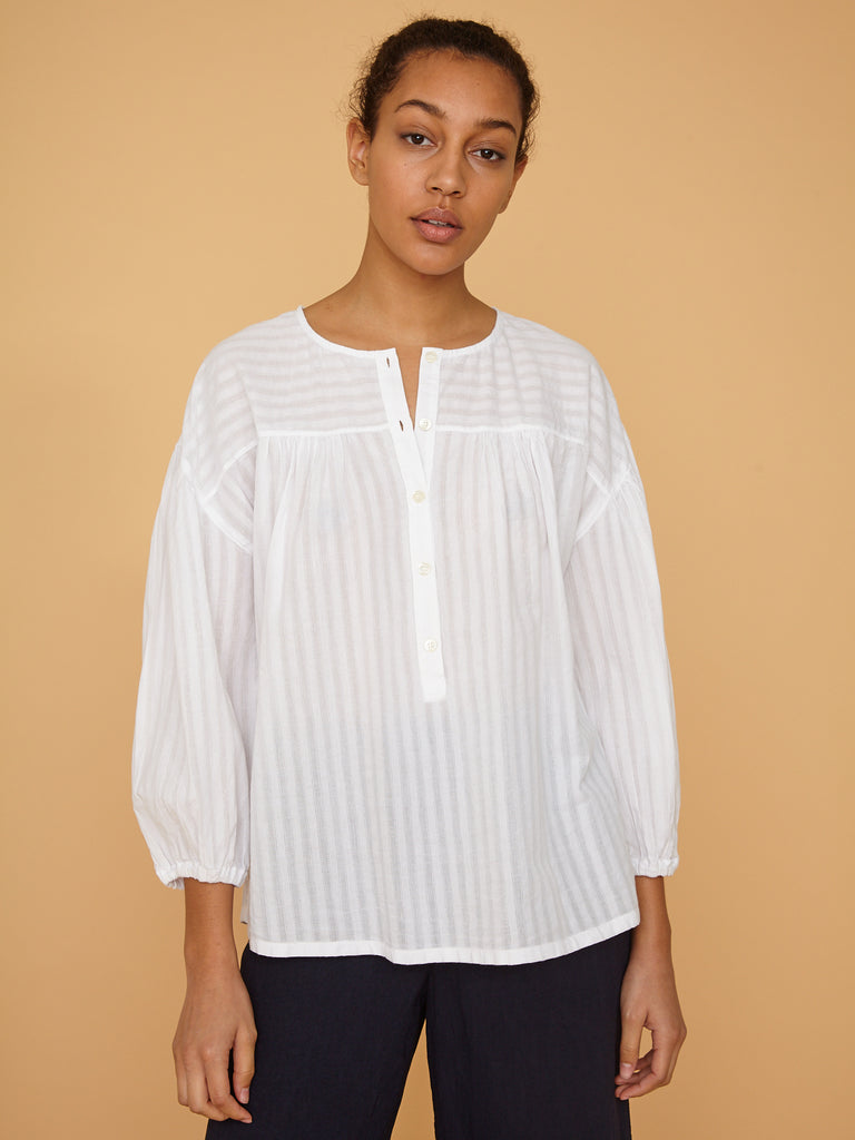 White Stripe Poet Top