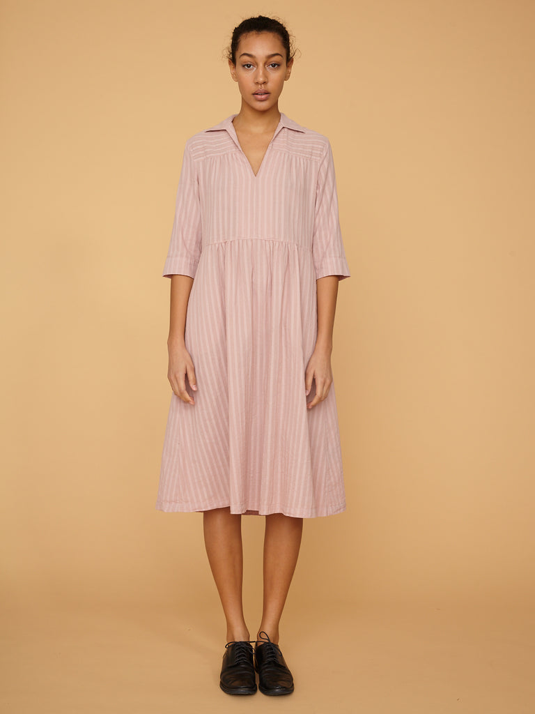 Nude Pink Stripe Tiered Peasant Dress
