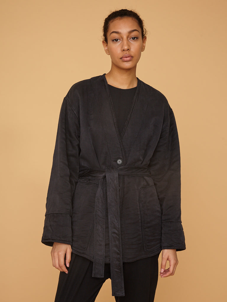 Black Silk Cotton Sateen Quilted Jacket
