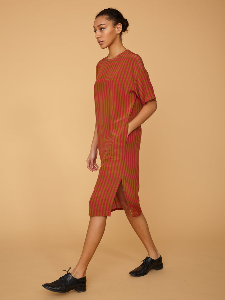 Venetian Red Stripe Silk T Shirt Dress
