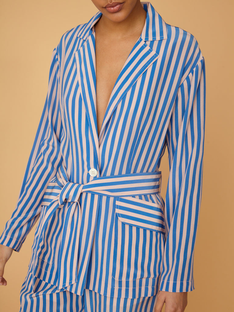 French Blue Stripe Silk Mara Blazer