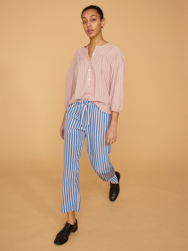 French Blue Stripe Silk Drawstring Trouser