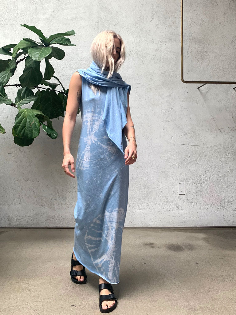 Blue Constellation Jersey Muscle Maxi Dress