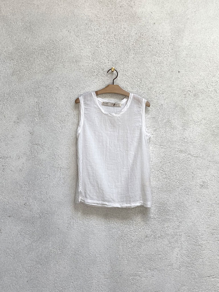 Washed White Gauze Muscle Tee