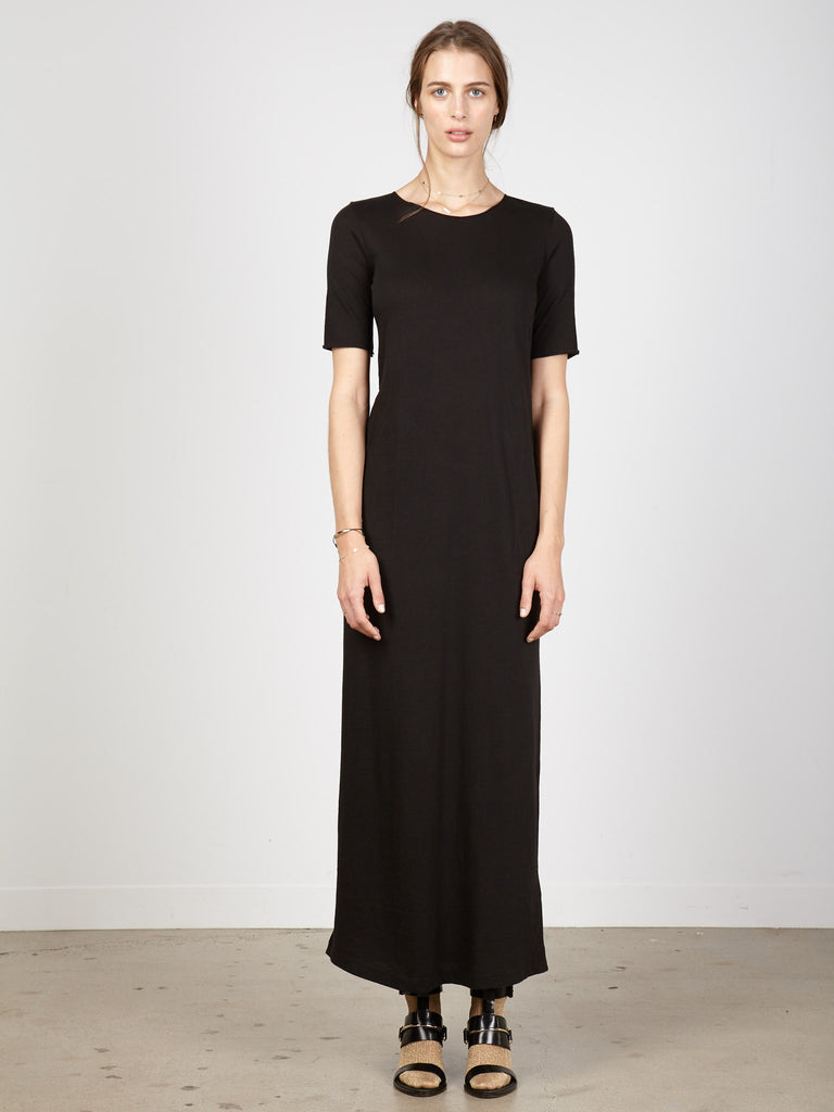 Black Jersey Short Sleeve Maxi Dress
