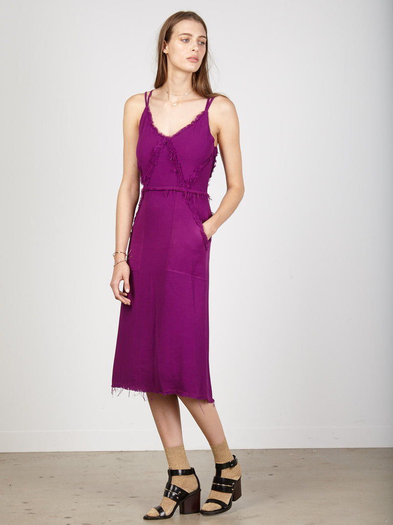 Fuchsia Crepe Diamond Slip Dress