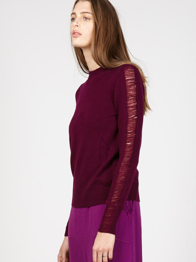 Fuchsia Cashmere Shred Sleeve Crew