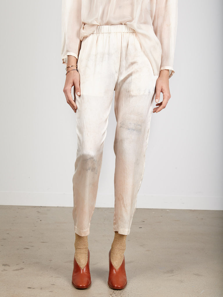 Ivory Hand Dyed Charmeuse Relaxed Pant