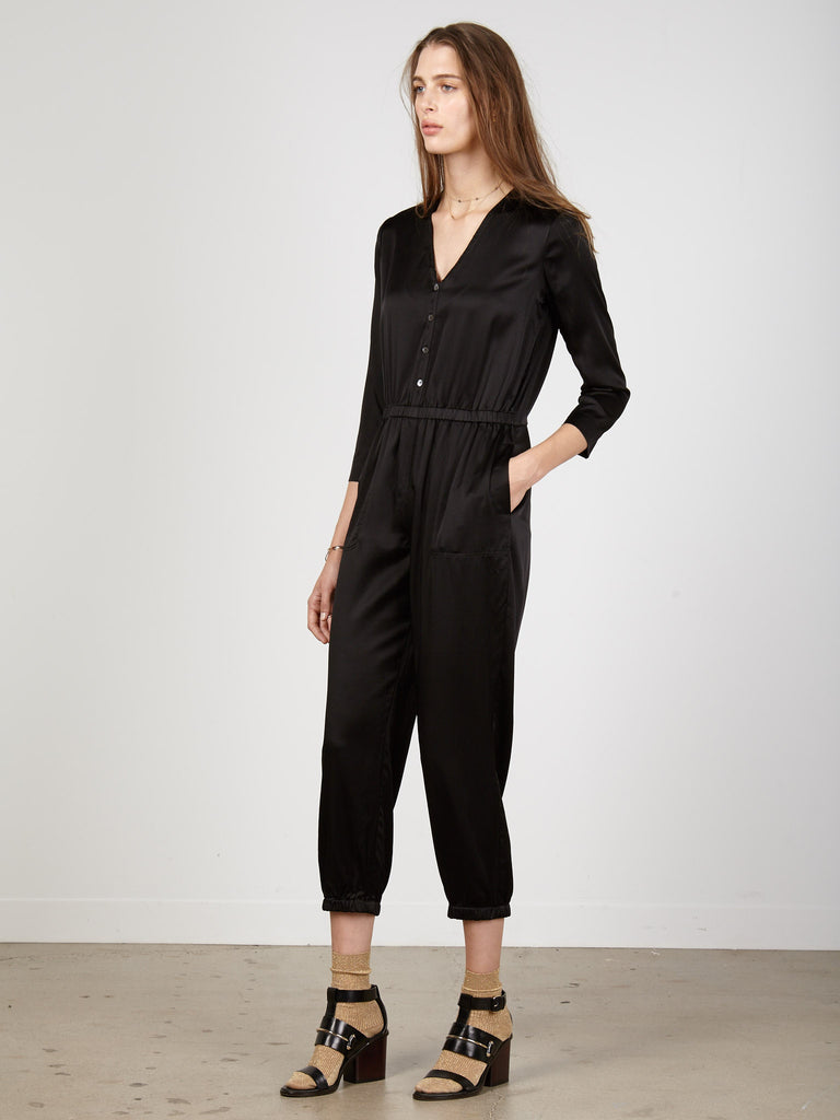 Black Charmeuse Jumpsuit