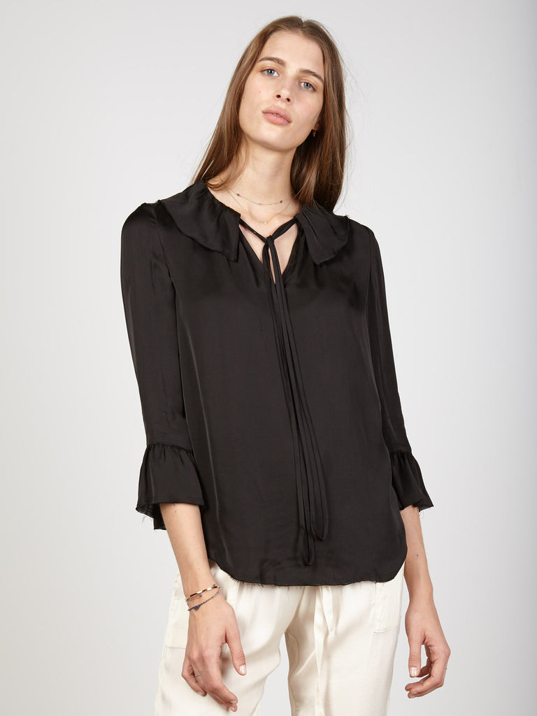 Black Liquid Satin Ruffle Neck Top
