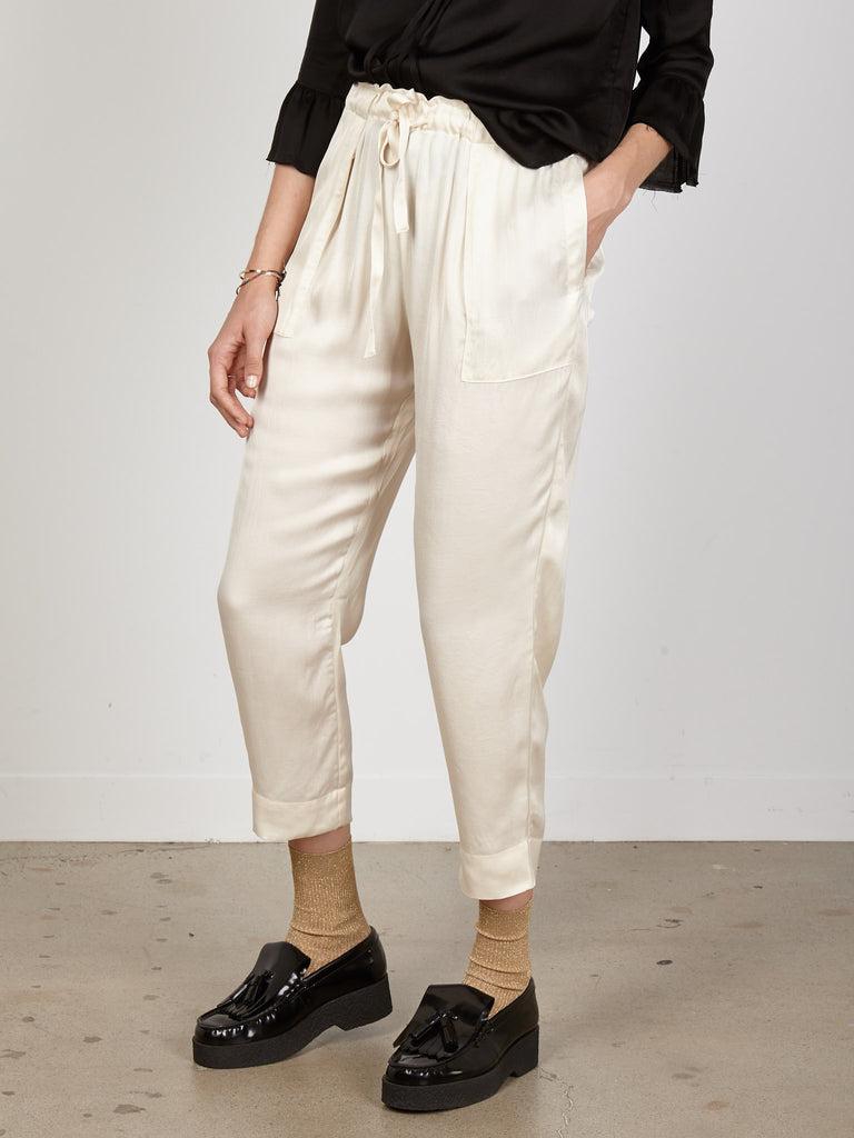 Cream Liquid Satin Drawstring Pant