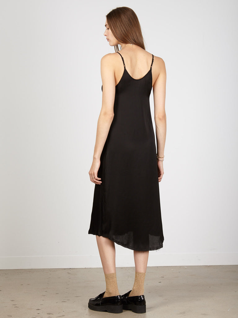 Black Liquid Satin Slip Dress