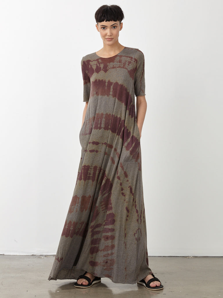 Mulberry Tie Dye Jersey Drama Maxi Dress