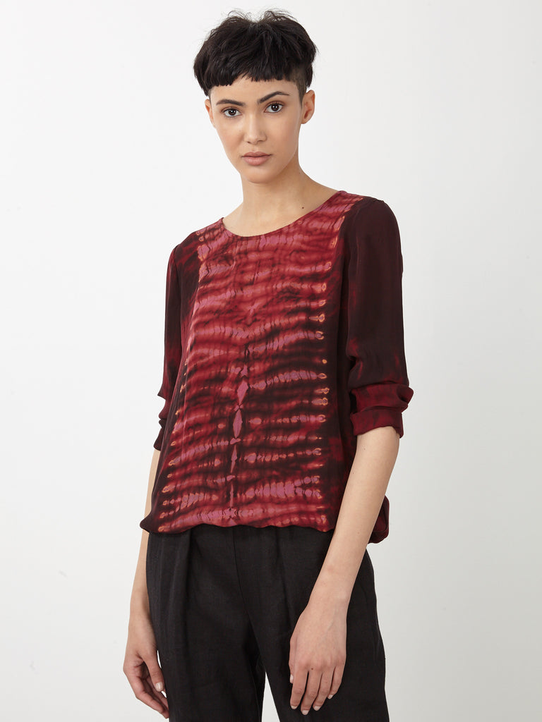 Oxblood Tie Dye Silk Sweatshirt