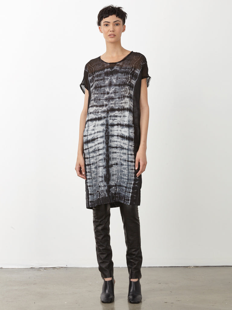 Black Tie Dye Silk Contrast Panel Dress