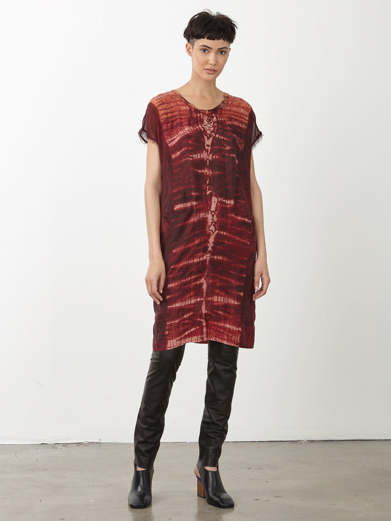Oxblood Tie Dye Silk Contrast Panel Dress