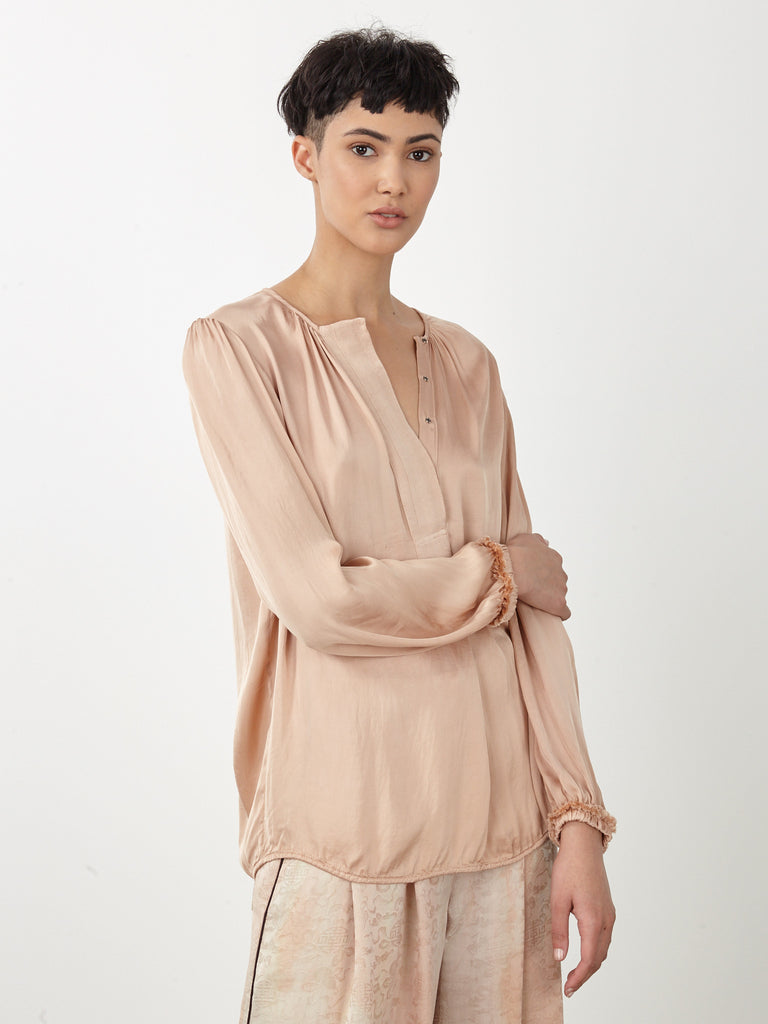 Copper Liquid Satin Ribbon Placket Blouse