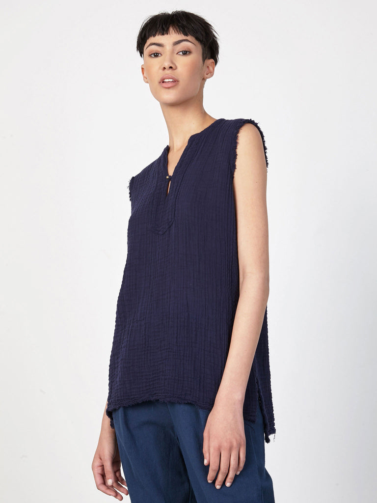 Navy Gauze Button Tunic