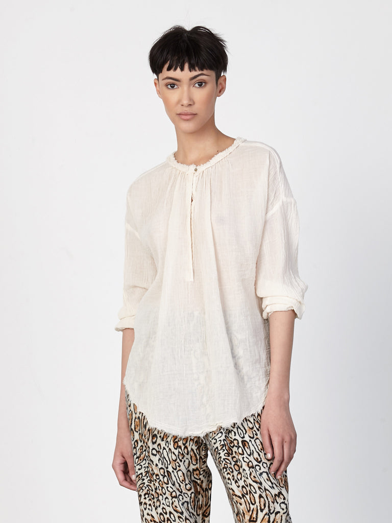 Dirty White Gauze Shirred Blouse