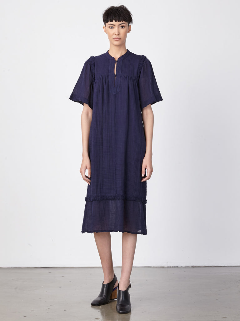 Navy Gauze Peasant Dress