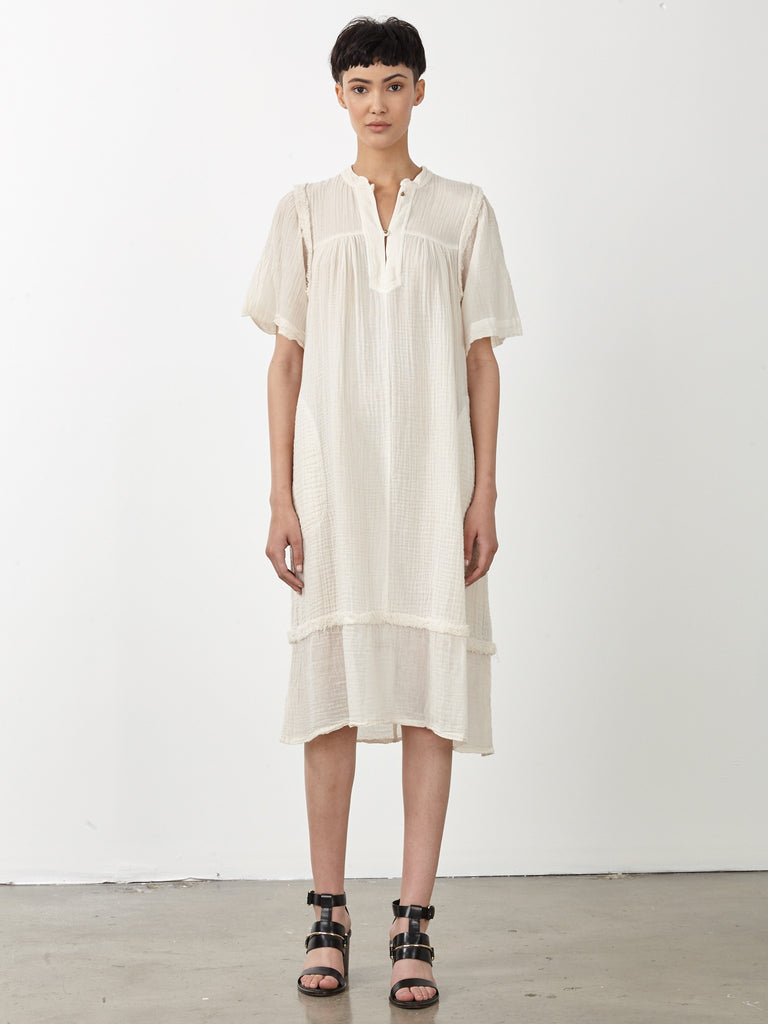 Dirty White Gauze Peasant Dress