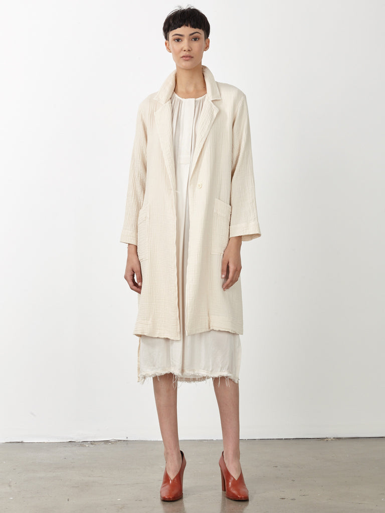 Dirty White Gauze Short Trench