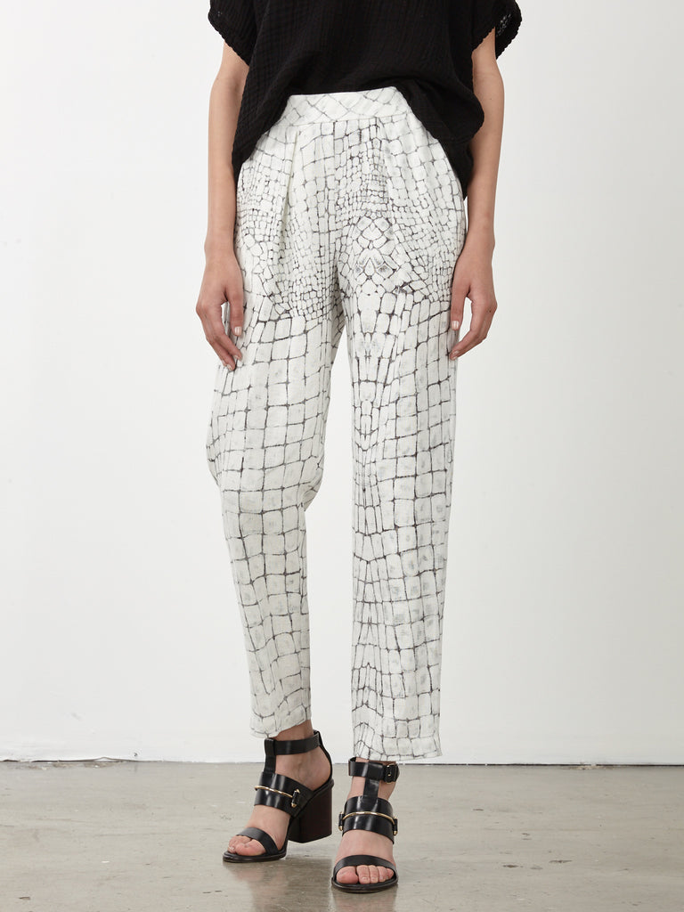 Bleached Gator Linen Easy Pant