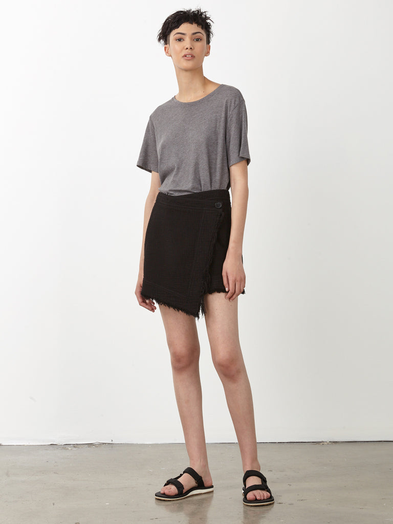 Black Outerweight Dual Canvas Wrap Skirt