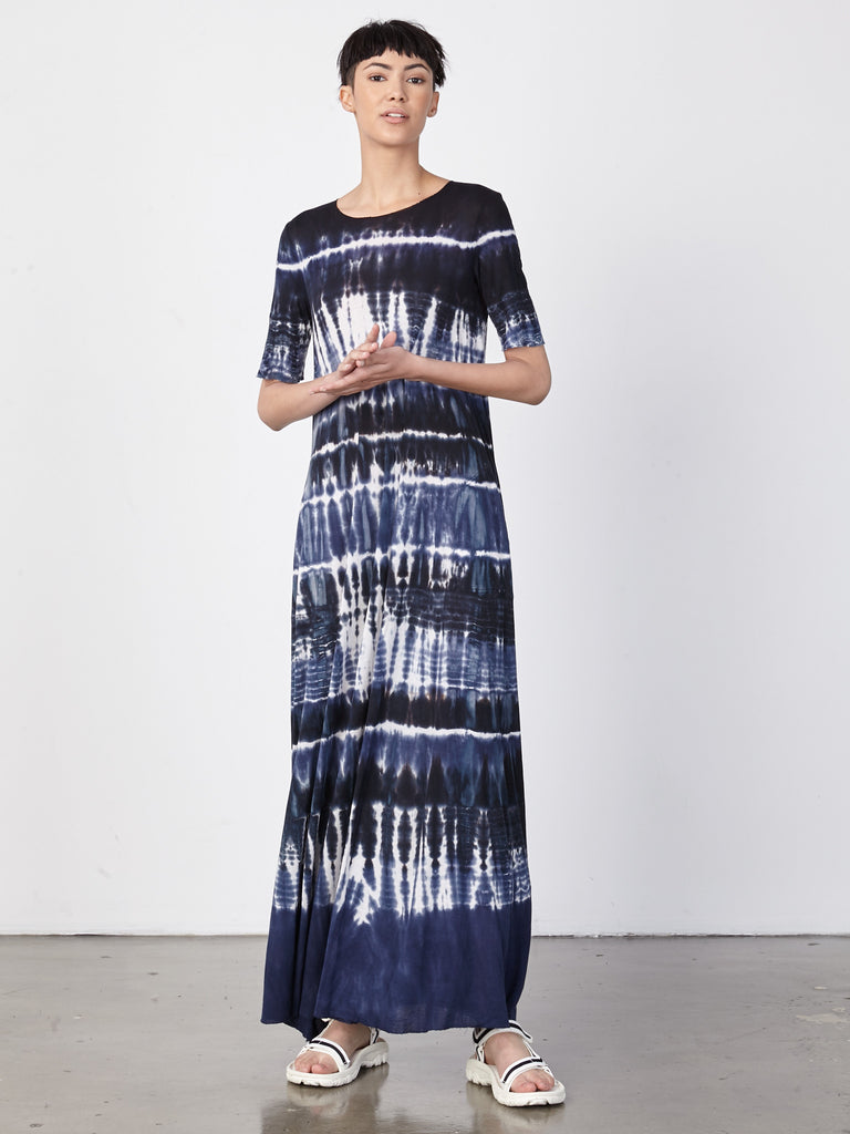Navy Tie Dye Jersey Drama Maxi Dress