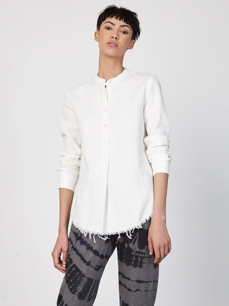 Bright White Raw Cotton Long Sleeve Henley