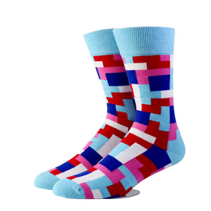 Tetris Sky Blue Socks (Medium)