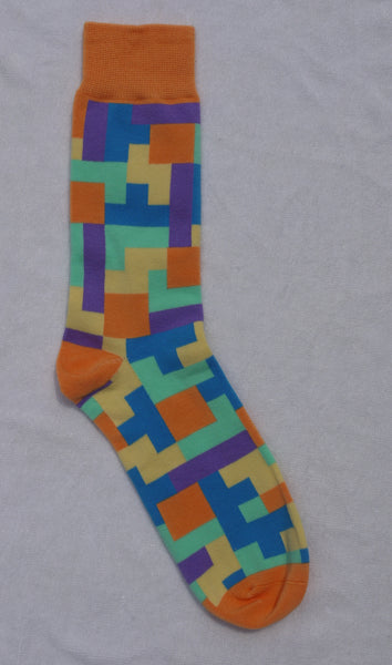 Tetris Orange Socks (Large)