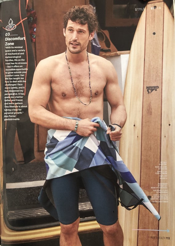 blue patterned surf towel in Men's Health UK - anaskela