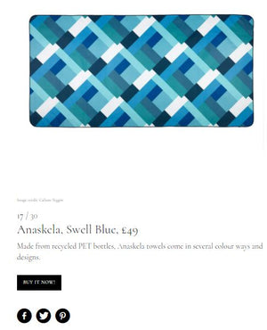 Swell Blue towel - Marie Claire UK's Hot List - Anaskela