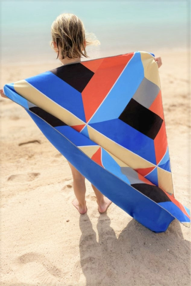 red and blue kids beach towel - anaskela