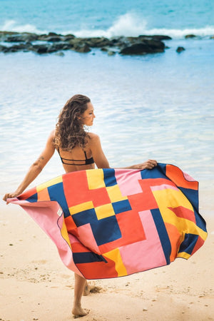 pink patterned sustainable towel - anaskela