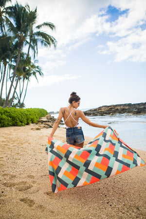 sustainable patterned beach towel - anaskela
