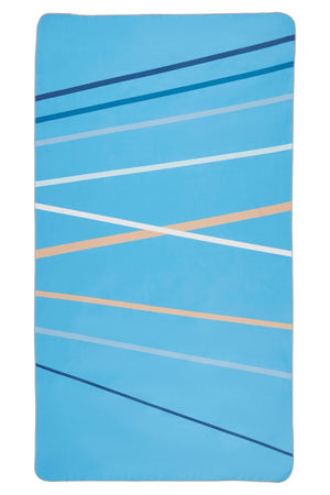 blue striped microfibre beach towel - anaskela