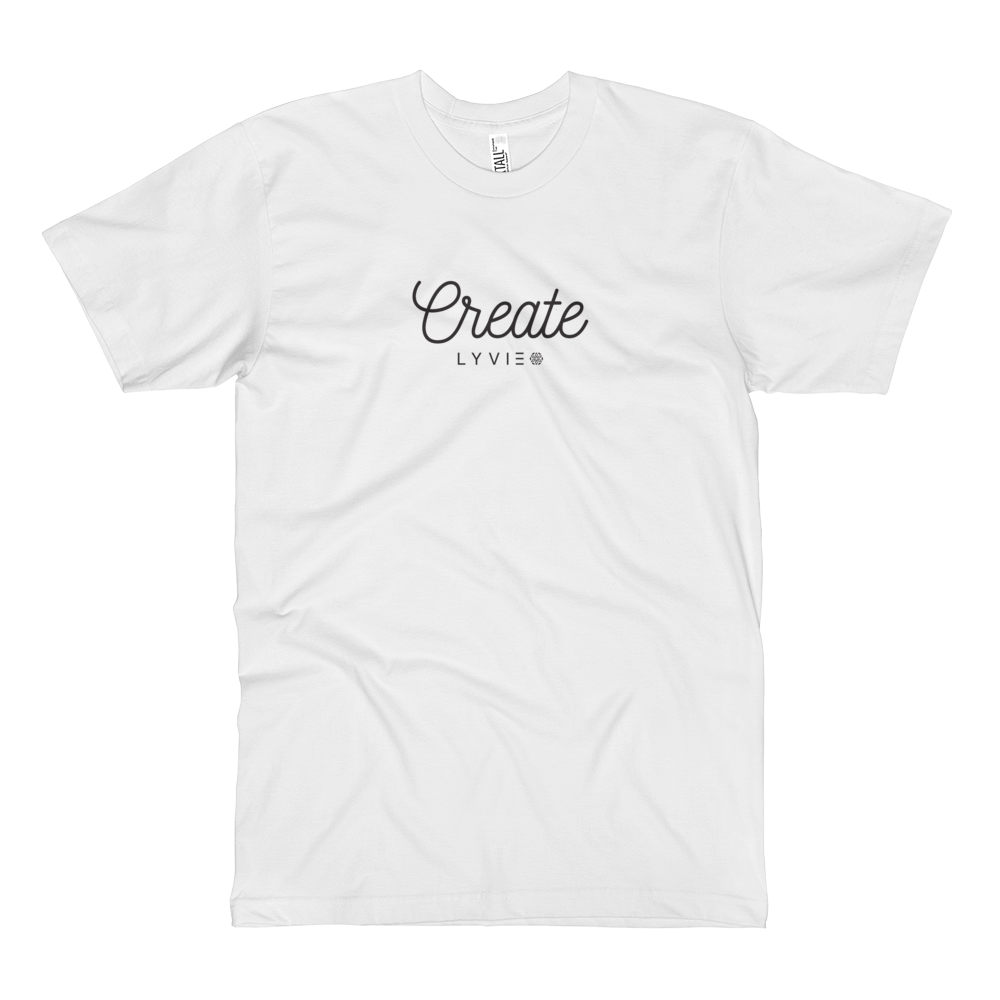 Create Jersey Tall T-Shirt - White - L Y V E L Y - streetwear - activewear - lifestyle - inspirational - urban apparel - supply - casual