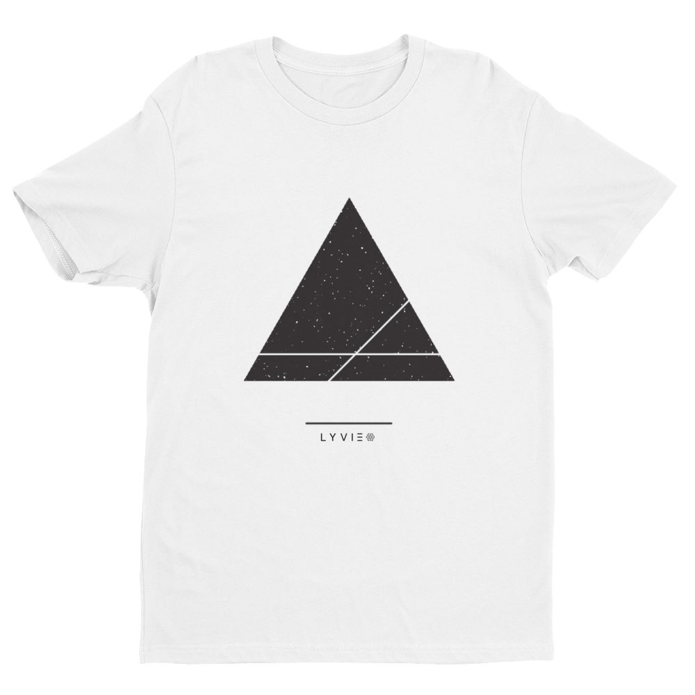 Triangle and Stars Crew Neck T-shirt - White - L Y V E L Y - streetwear - activewear - lifestyle - inspirational - urban apparel - supply - casual