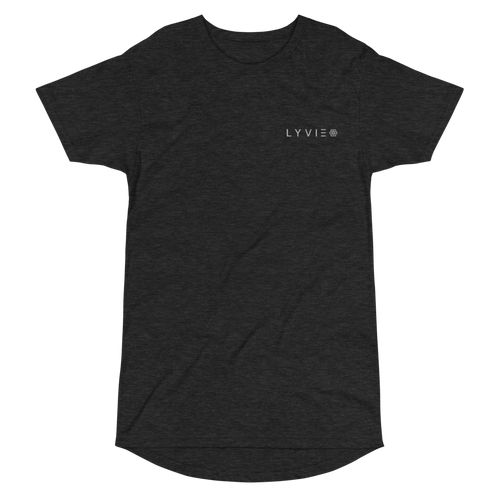 Embroidered Logo Long Body Urban Tee - Dark Grey Heather - L Y V E L Y - streetwear - activewear - lifestyle - inspirational - urban apparel - supply - casual