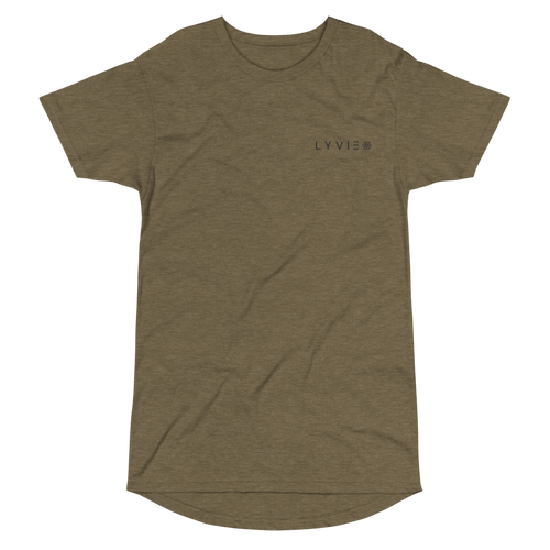 Embroidered  Logo Long Body Urban Tee - Heather Olive - L Y V E L Y - streetwear - activewear - lifestyle - inspirational - urban apparel - supply - casual